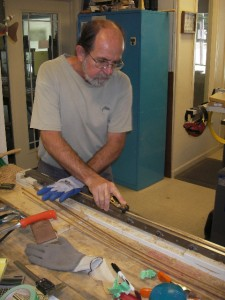 Ted planing bamboo fly rod strips