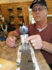 Jim setting up planing form in rod making class